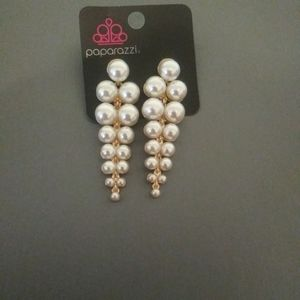 Pearl and gold tone earrings